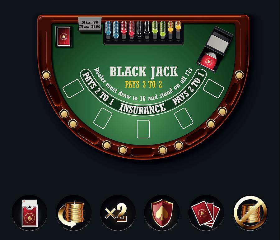 blackjack table Spelbord
